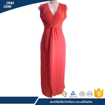 Red Criss-Cross Sleeveless Elegant Ladies Evening Formal Dresses for middle aged women in summer