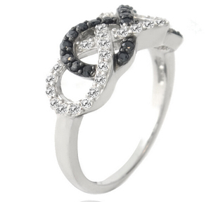 Xuanhuang jewelry sterling silver zirconia diamond two infinity cross ring for sale