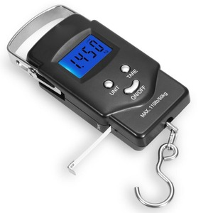 Backlight LCD Display 110lb/50kg Electronic Balance Digital Fishing Postal Hanging Hook fish Scale with Measuring Tape