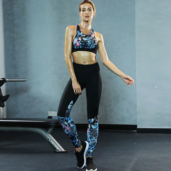 86e6e08ae2e1 2019 Sexy Ladies Two Piece Activewear Suit High Waist Fitness Gym Yoga  Sports Wear