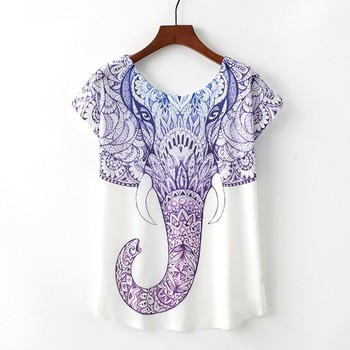 Hot sale loose neck blue figure elephant women t shirt
