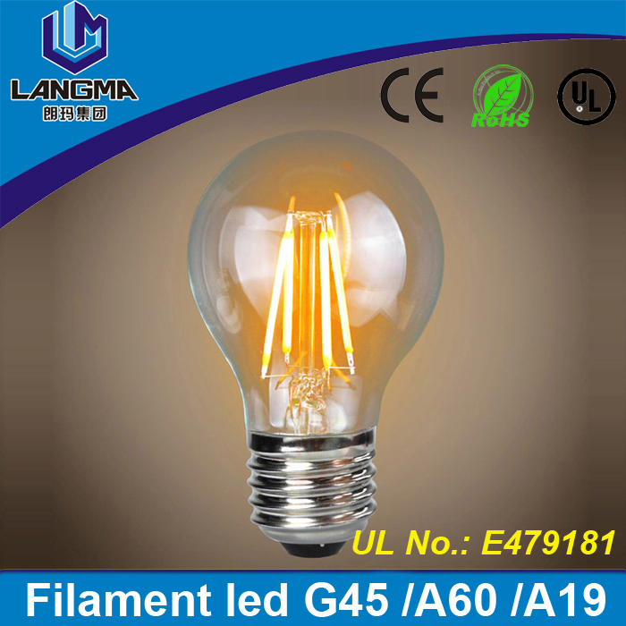 Langma Vintage style Modern ce Rohs UL/CUL certified 360 degree E27 A60 filament light warm white led bulb e27 yellow 2200k