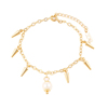 74146 xuping simple new design gold plated women fancy pearl anklet for gifts