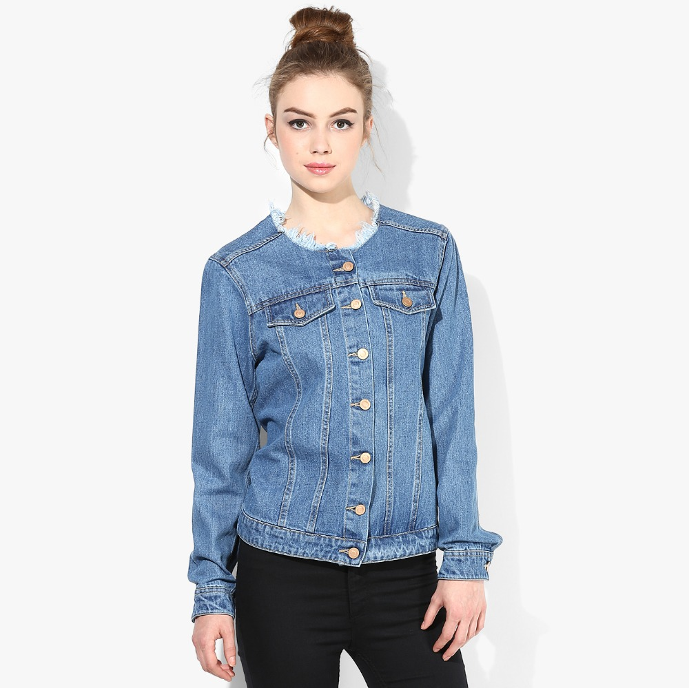 Wanita Denim Gadis Jaket Fashion Desain Dengan Kerah Khusus - Buy ...