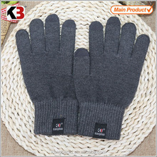 2016 High quality pure black knitting touch screen gloves yarn knitting gloves igloves for smartphone