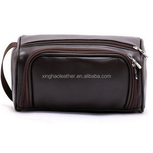 PU Leather Zipped Travel Toiletry Bag Mens customized logo cosmetic bag travel