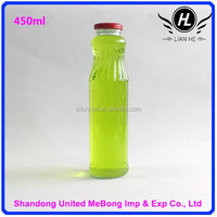 Wholesale 450ml clear engraving glass apple vinegar bottle with tin lid