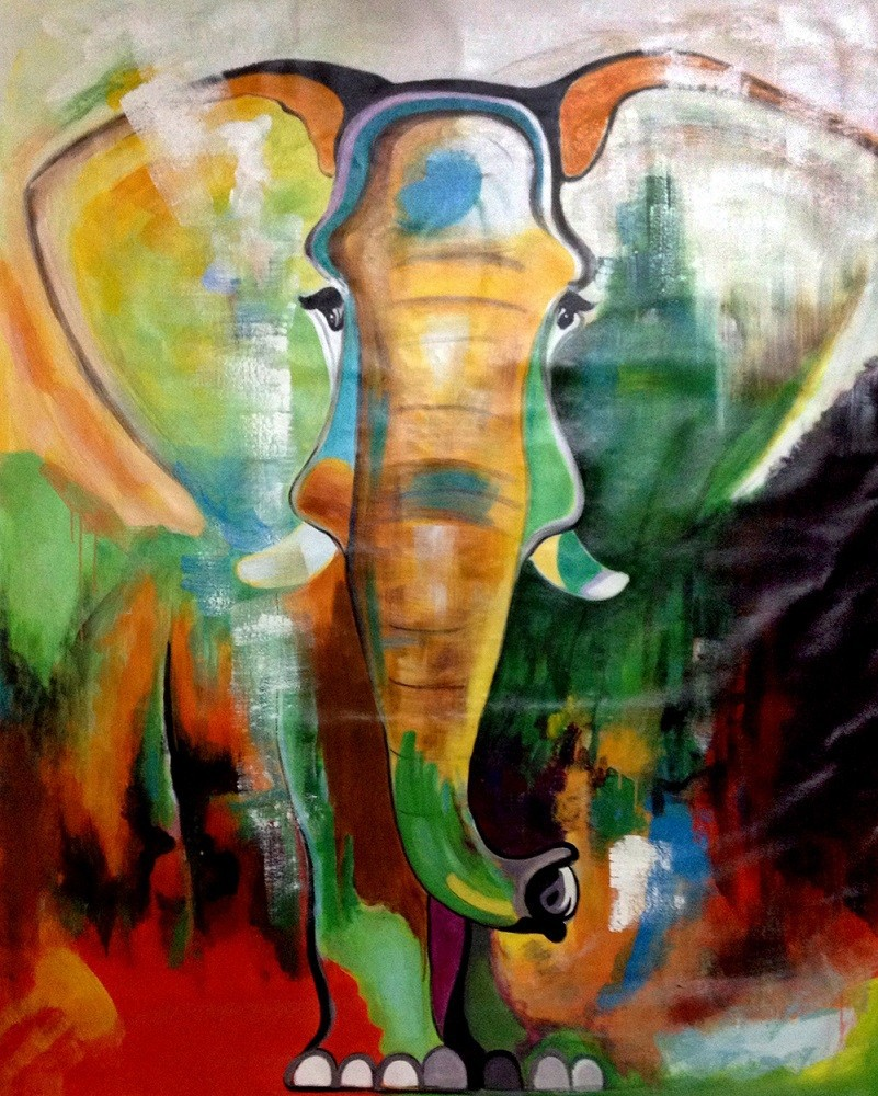 Thick Textured Oil Painting Canvas Of Elephant Buy Oil Painting
