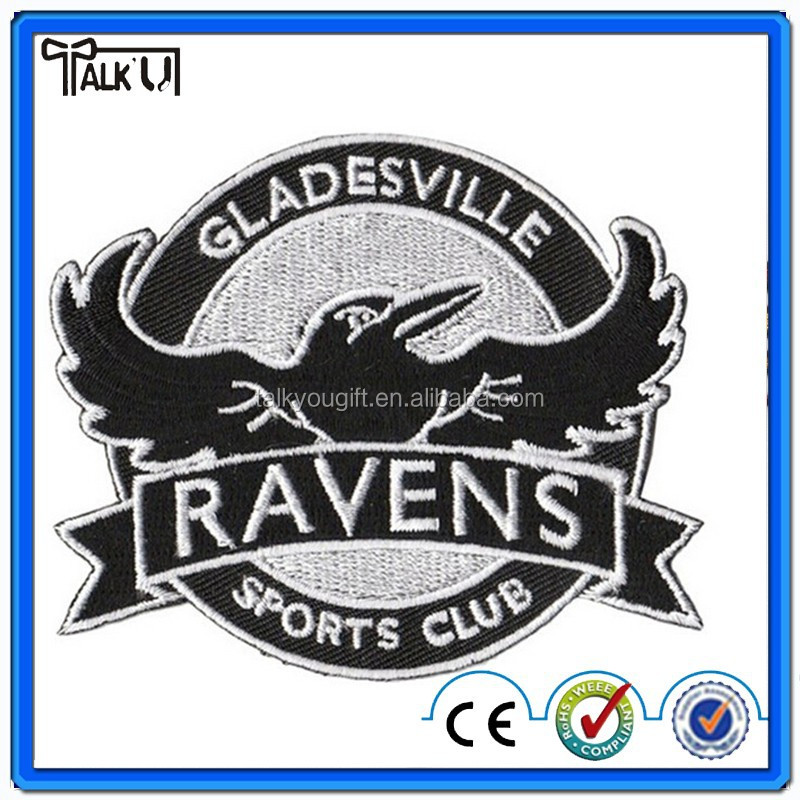 High quality custom machine heat transfer children 3D embroidered badge, Applique Crest Soccer jersey Embroidery patch