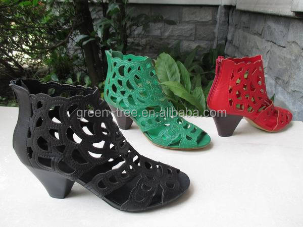 Fancy Green Cork Heel Fashion Sandal Women Low Heel Sexy Shoes ...