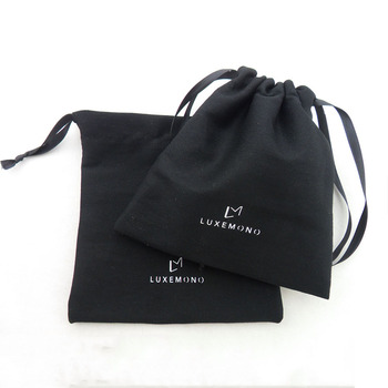 Custom Luxury Travel Square Printed Thick Pouches Black Small Draw String Jewelry Packing Suede Drawstring Pouch