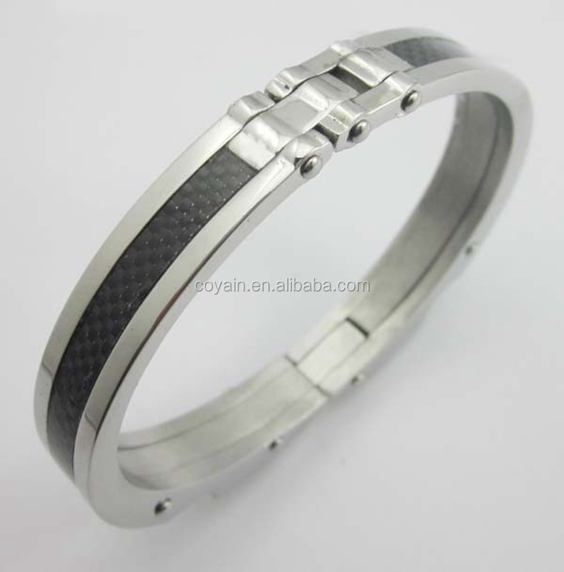 Fashion Carter Carbon Stainless Steel Men's Bracelet Bangle