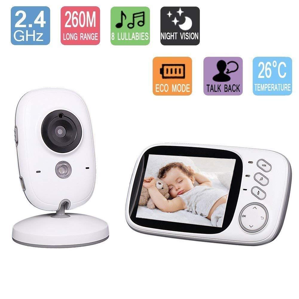 Lullaby Bay - Wireless Video Baby Monitor with Digital Camera. Anti-Hack Encryption. 3. 2 inch LCD Screen. Night Vision. Temperature Sensor. 2-Way Talk. Long Range. 8 Lullabies. Wall-mountable camera