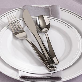 Wedding Disposable Plastic Plates Plastic silverware Cutlery Sets & Wedding Disposable Plastic PlatesPlastic Silverware Cutlery Sets ...