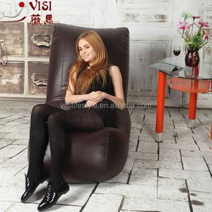 coffee PU leather in/outdoor bean bag recliner bean bag lounge bean bag cover wholesale