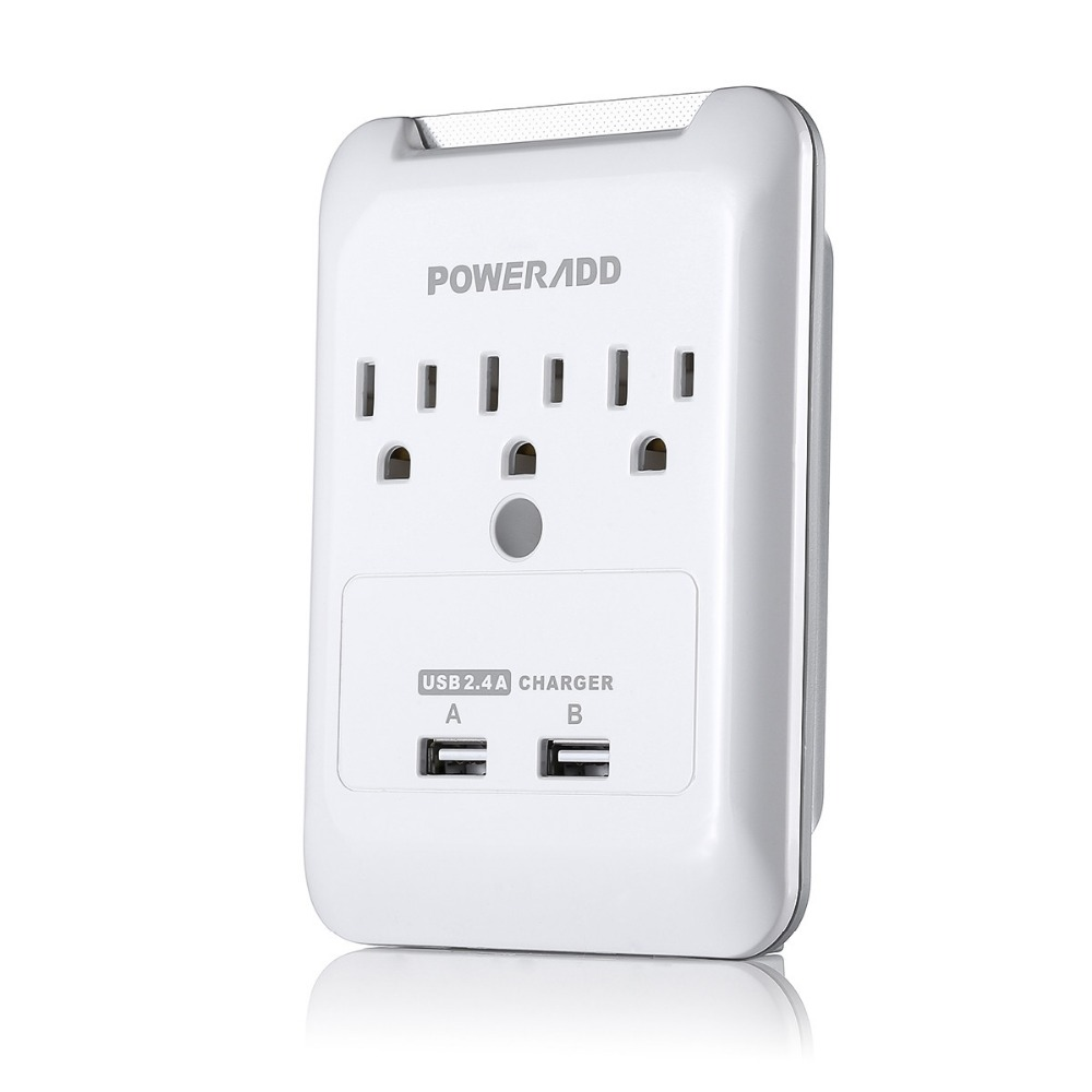 UL Listed Smart USB Wall Socket 2 Port Travel Power Strip 3 Outlet with LED Indicator