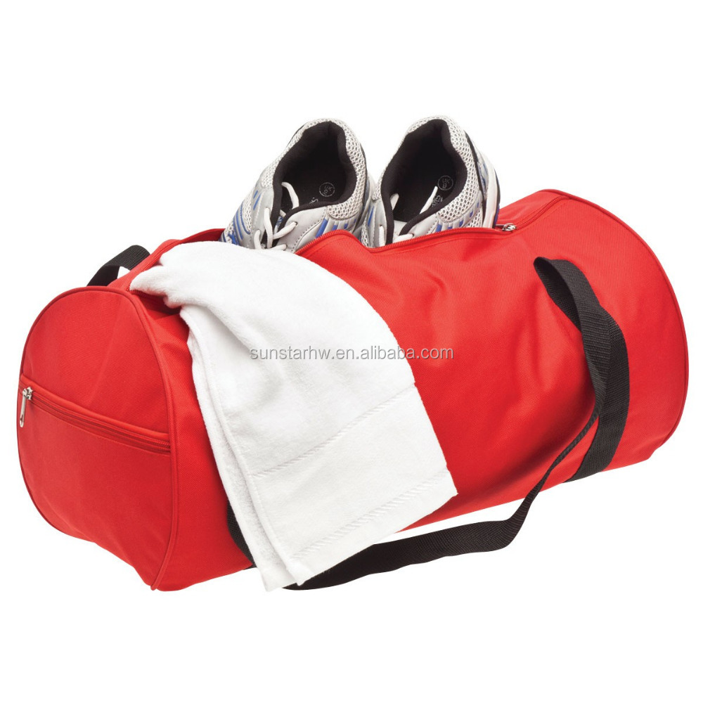 oem stylish red 600D cylindrical travel bag sports gym bag
