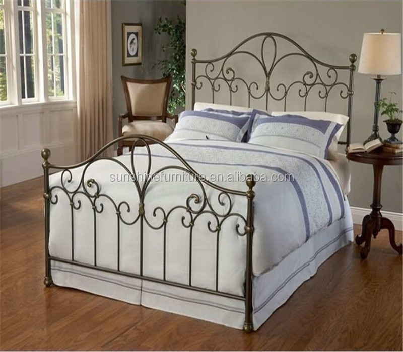traditionnelle pleine taille queen king size panneau lits m tal cadre de lit ensemble. Black Bedroom Furniture Sets. Home Design Ideas