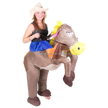 Inflatable Horse Riding Cowboy Fancy Dress Costume Stag Hen Night Outfit Agc1608
