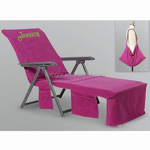 Bon Personalized Beach Towel Chair Cover Microfiber Pool Lounge Chair Cover  With Pockets