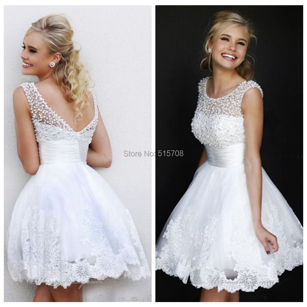 Elegant Lace Sleeve Short Wedding Dresses 2016 Scoop Neck: In Stock Beautiful Scoop Neckline Cap Sleeve Beaded Pearls
