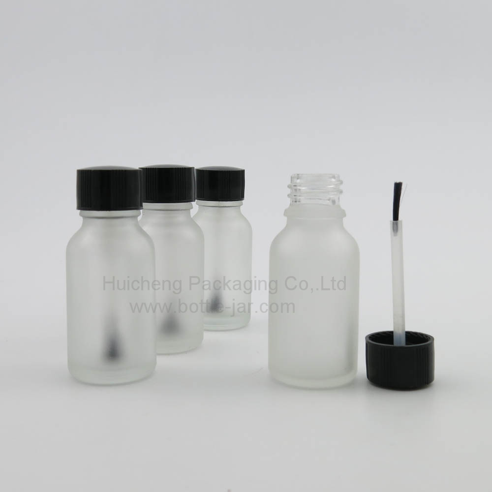 White frosted empty glass nail polish bottles 15ml with cap and brush