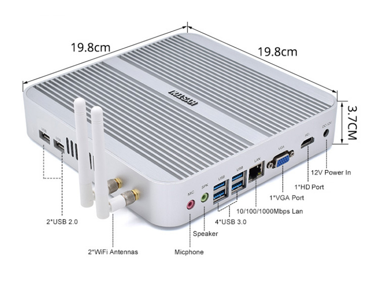 HYSTOU mini 데스크탑 intel kaby lake 데스크탑 VGA mini pc i5 7200u micro computer hardware set top box