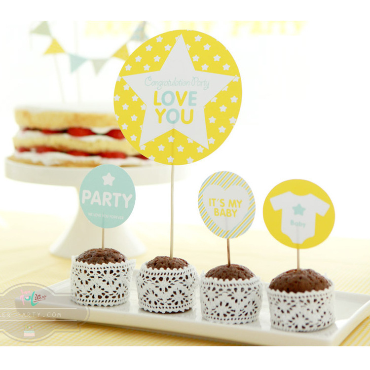 Buy 7pcs Yellow star cake inserted card birthday Party Baby Shower ...