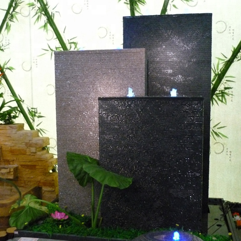 granite stone waterfall wall fountain supplier with lights