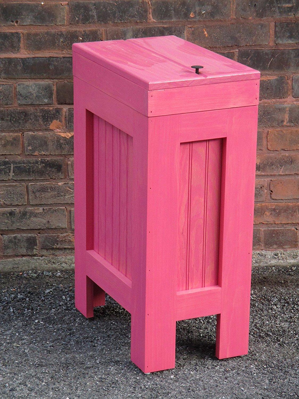 Kitchen Garbage Can,Rustic Wood Trash Bin,Gunstock Stain 13 Gal Wood Trash Can