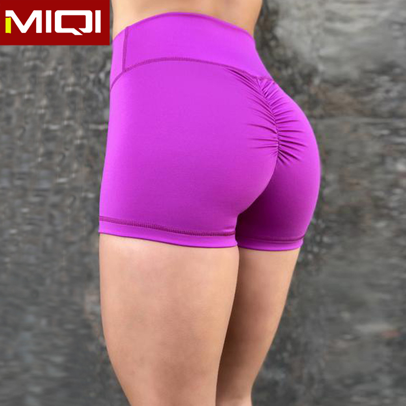 Wholesale Branded High Waist Workout Shorts Womens Gym Running Athletic Yoga Shorts Fitness