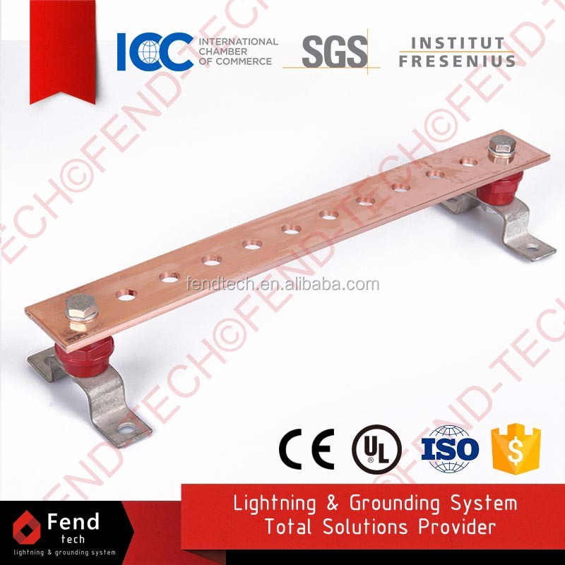Anti Theft Steel Ground Bar with wall Mounting Brackets and Insulators