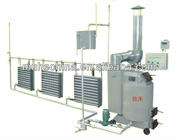 Coal fired hot water air heater for poultry house