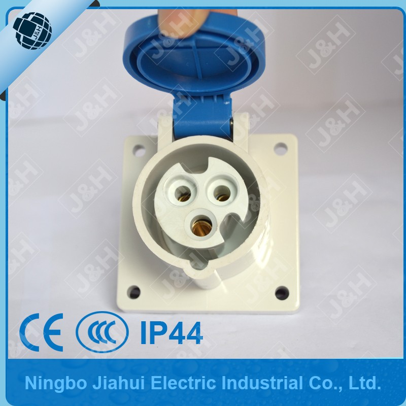 JH1366 IP44 3P 16A panel socket, IP44 single phase 16A panel socket