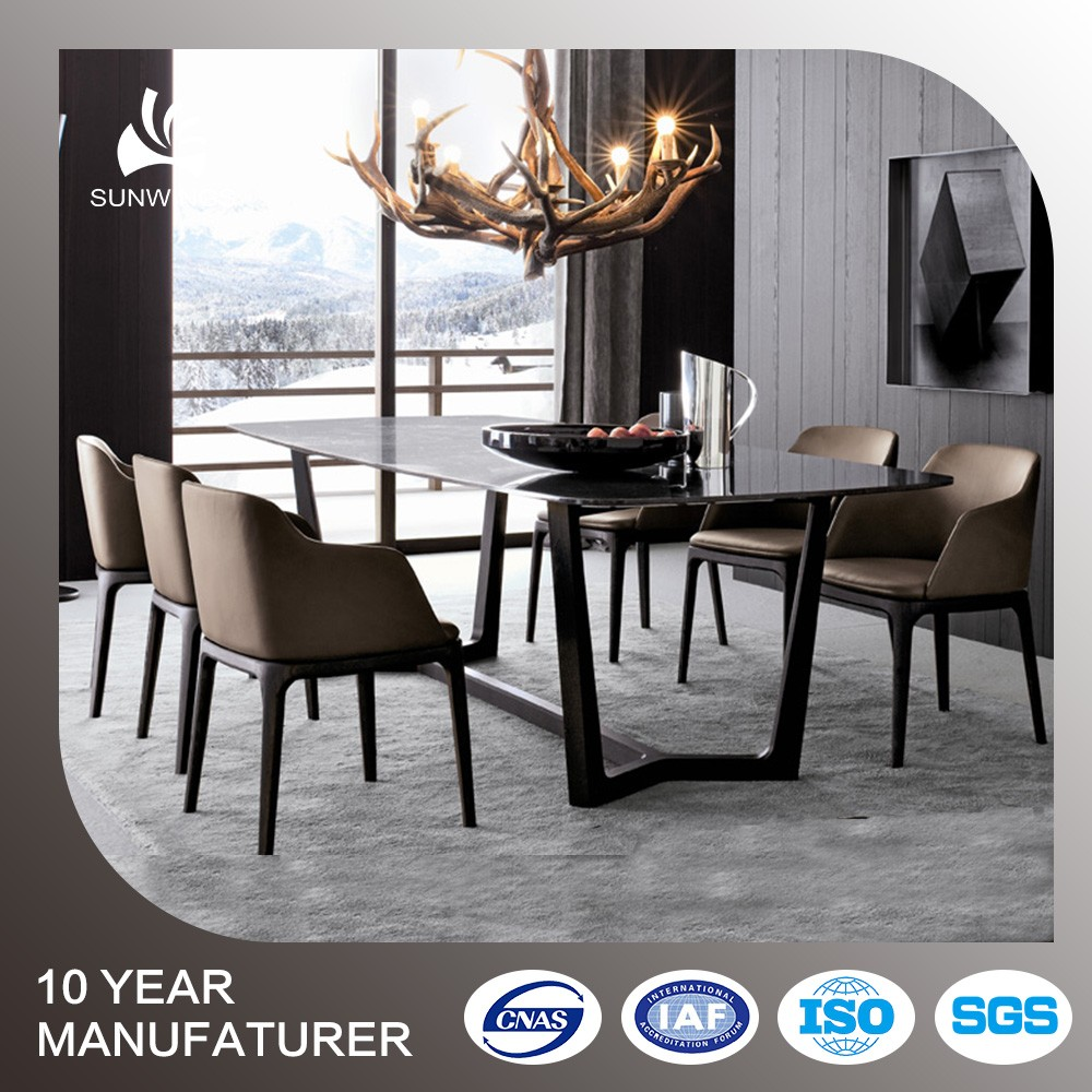 Foshan Furniture Factory Gl Top Marble Base Dining Table