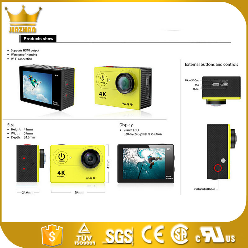 4K 24fps ULTRA HD 16MP camera SJ8000 Sports action video camera DV NOVATEK NT96660 WiFi 2 inch waterproof Actioncam SJ5000