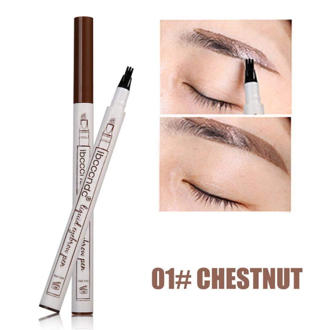 Eyebrow Tattoo Pen,DEESEE(TM) 3 Color New Durable PHOERA Makeup Eyeliner Pen Eyebrow Pencil Waterproof Sweatproof Easy To Wear Long Lasting Fork Tip Sketch Microblading Ink Makeup Cosmetic (A)
