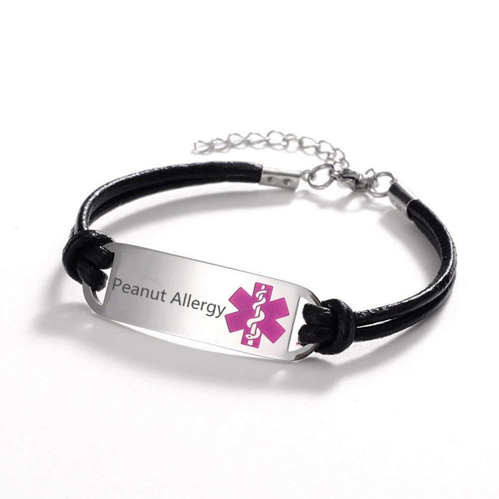 My Identity Doctor Pink Symbol Pre-Engraved /& Customized Latex Allergy ID Bracelet Steel Raindrop