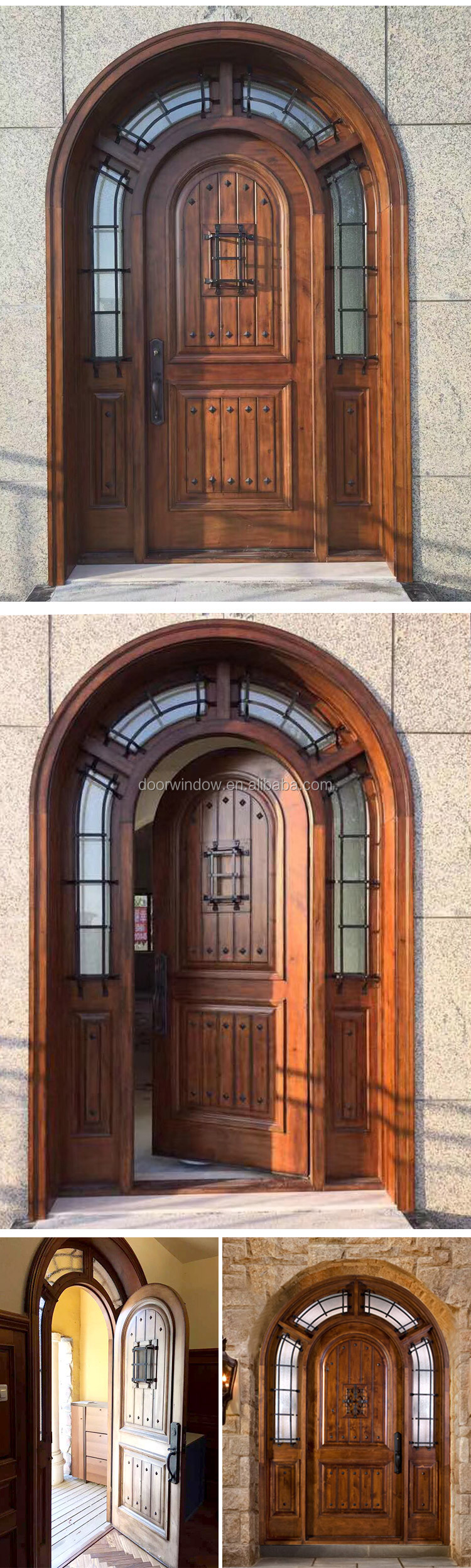 Custom front main gate design security solid wood entry door