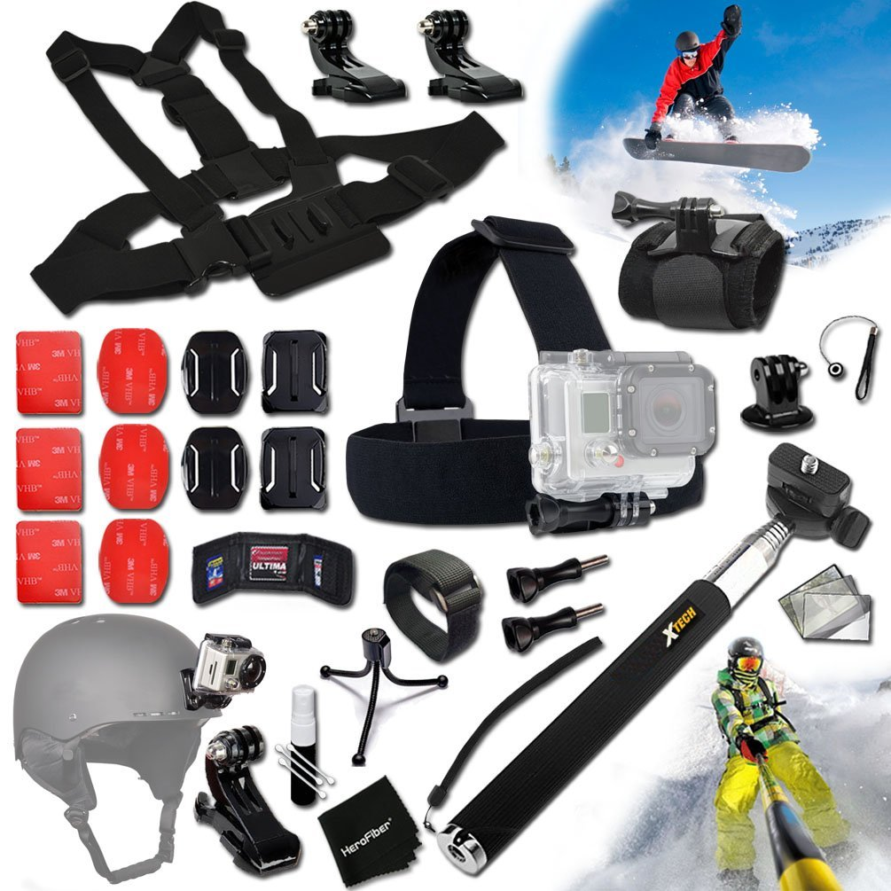 Xtech® SKI / SKIING and Snowboarding ACCESSORIES Kit for GoPro HERO4 SESSION, HERO4, Hero 4 3+ 3 2 1 Hero4 Hero3 Hero2, Hero 4 Silver, Hero 4 Black, Hero 3+ Hero3+ Hero 3 Silver, Hero 3 Black and for Skiing, Ski-Bobbing, Ski Jumping, Snowboarding, Skateboarding, Rollerblading, Skating, Ice Skating,