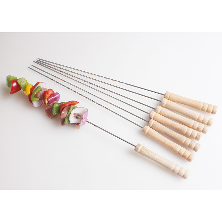 Stainless Steel Grill Skewer BBQ Roasting Skewer With Wood Handle Durable Grill Meat Fork