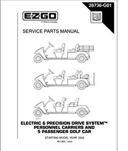 EZGO 28736G01 2002 Service Parts Manual for Electric and Precision Drive System Personnel Carrier and 5 Passenger