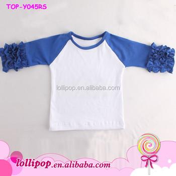 85c625431b4 Royal Blue Toddler   Youth Girl s Raglan Ruffle Shirt Baseball Monogram  Blanks T-Shirts Girl