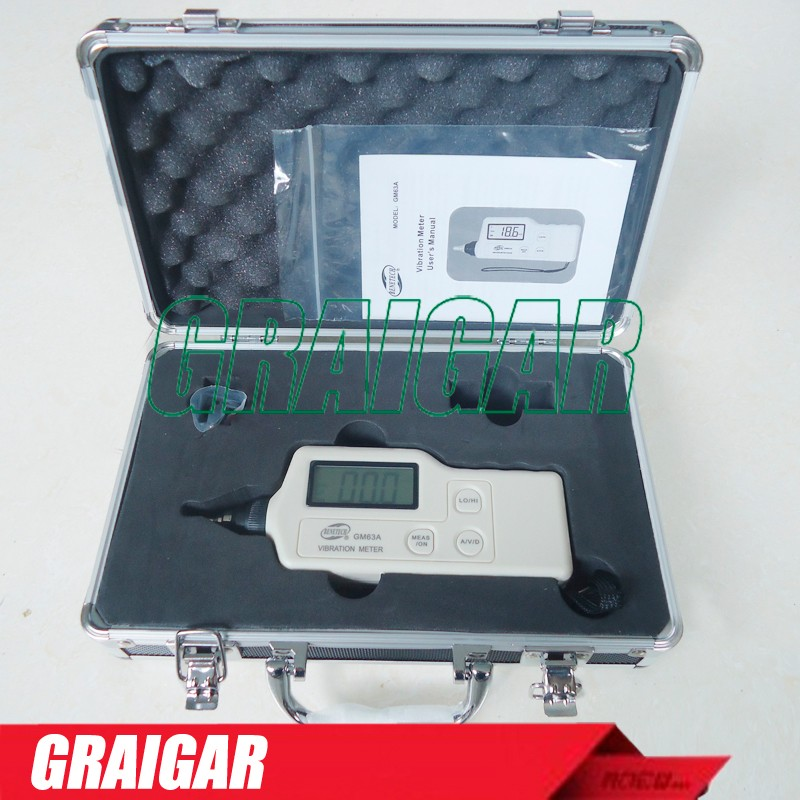 GM63A Digital Vibration Analyzer Tester Meter Vibrometer AC Output Digital With LCD Backlight
