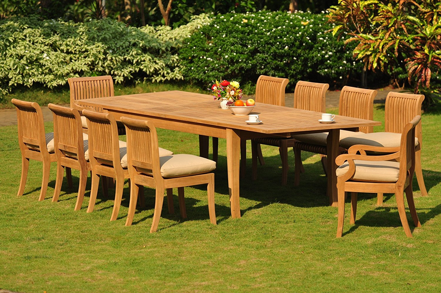 """Grade-A Teak Wood Dining Set 10 Seater 11 Pc: Large Atnas 122"""" Dining Rectangle Table Table, 2 Arm and 8 Giva Armless Chairs #WFDSGV56"""