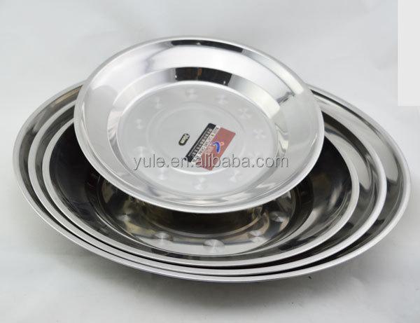 50cm 410SS Tablware Stainless Steel Dinner Plates Kitchen Utensil