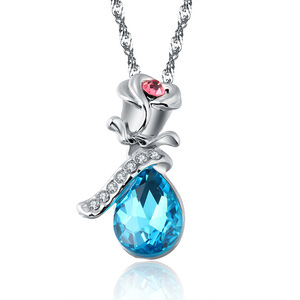 Newest European and American Trend Woman Angel Tears Shape Imitation Crystal Pendant Necklace Rose Flower Jewelry