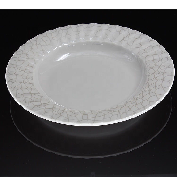 8 inch melamine deep plate applique with pearl powder restaurant plate