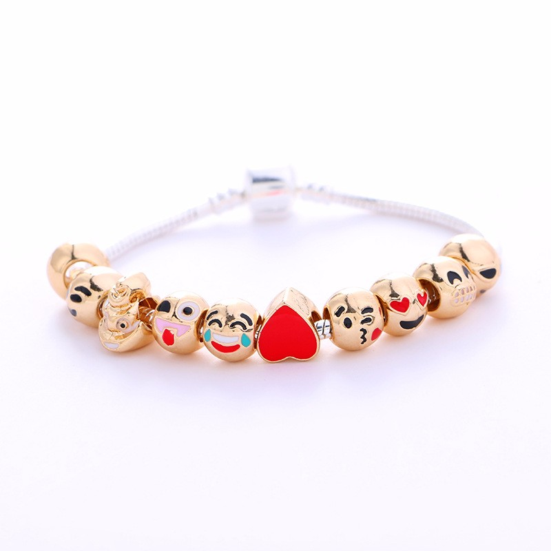 Expression package bracelets Cartoon smiling face environmental alloy beads bracelet