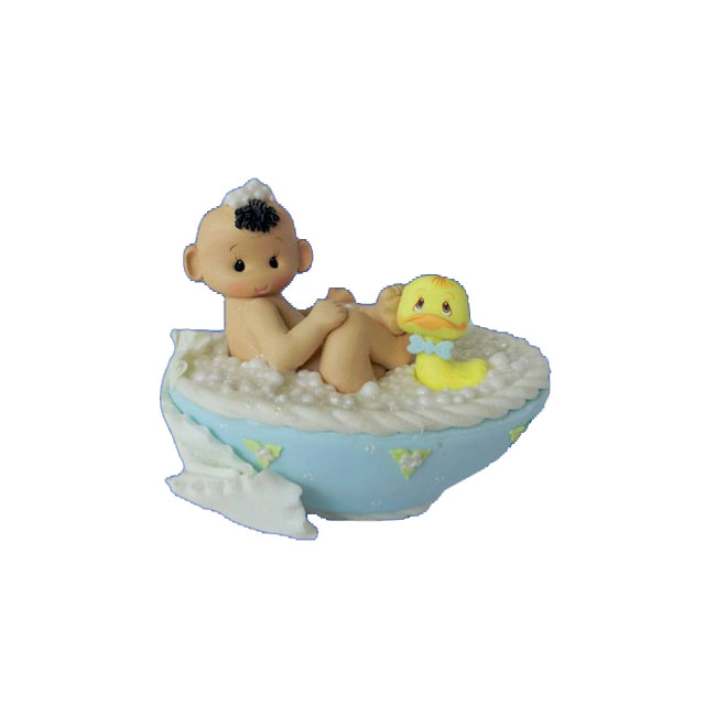 Gift Item Hand Made Resin Funny Baby Boy In Bathtub Cake Topper